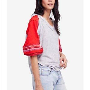 Free People Embroidered Bubble-Sleeve Tee